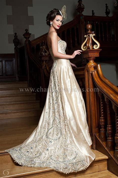 wedding gowns light champagne gold gown  exquisite
