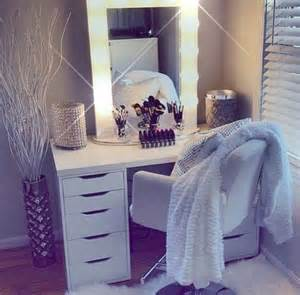 white vanity dressing table from ikea with hollywood light
