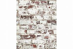 Papier Peint Pierre Blanche : papier peint style trompe l 39 il mur de briques us es rouge ~ Dailycaller-alerts.com Idées de Décoration