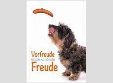 Postkarte Grußkarte Dackel mit Wurst 'Vorfreude ist die