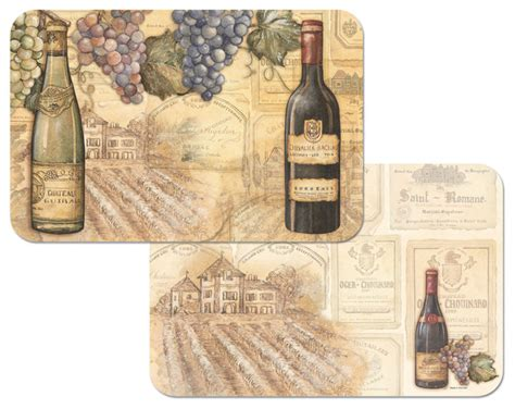 grape wine theme plastic placemats set   traditional