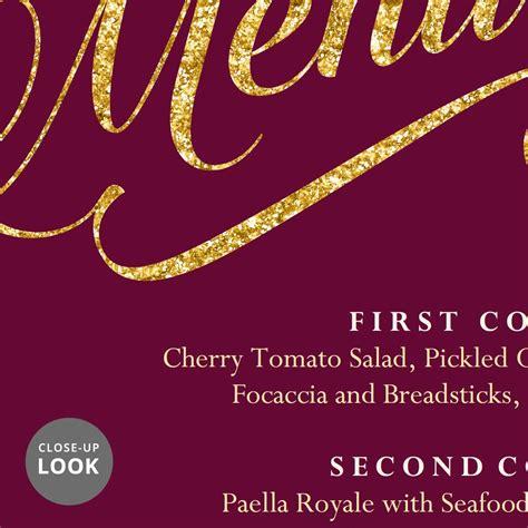 maroon burgundy  gold wedding menu template reception