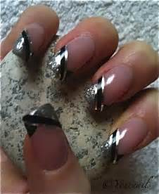 Black and Silver French Tip Acrylic Nails