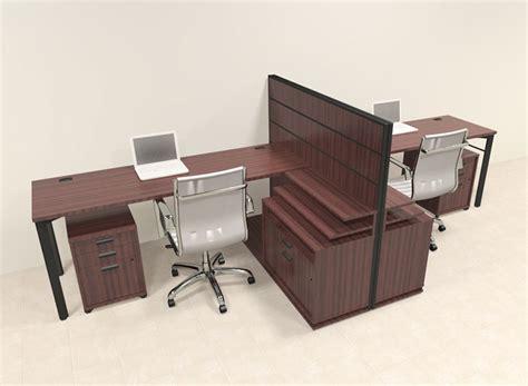 Two Person Modern L Shaped Workstation Office Desk Set
