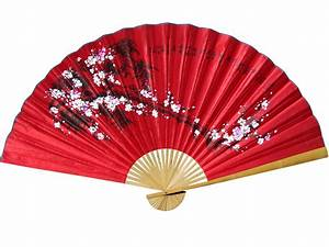 Asian, Wall, Fans, Red, Cherry, Blossoms