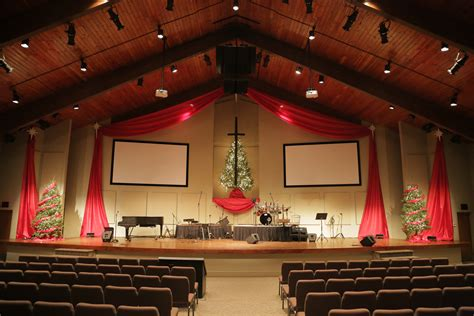 draped christmas church stage design ideas