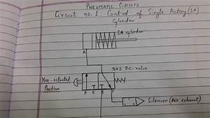 Pneumatic Circuit  Circuit No  1  Control Of Single Acting