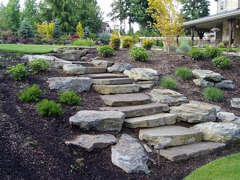 slope landscaping  stone hardscapes patios walls