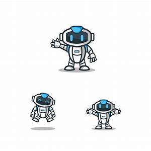 Set of robot character logo mascot template Vector ...