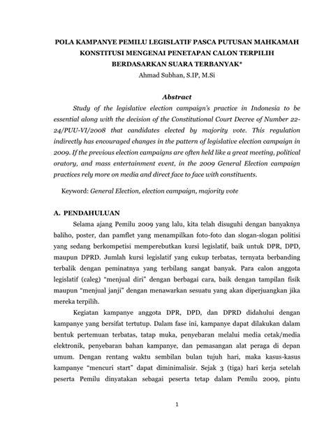 Contoh Pembukaan Berita Acara Rapat by Pdf Pola Kanye Pemilu Legislatif Pasca Putusan Mahkamah