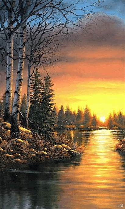 Landscape Gifs Sunset Animated Paintings Scenery Nature