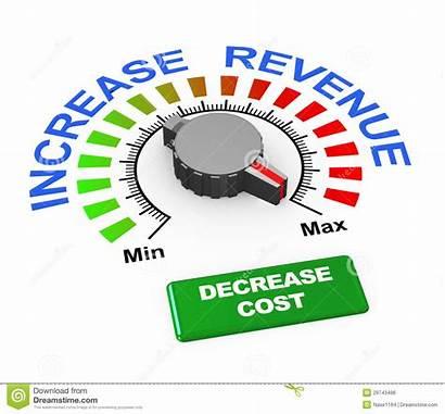 Revenue Increase Decrease Cost 3d Knob Illustration