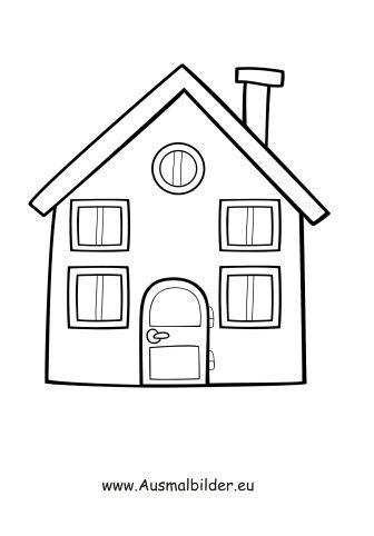 Ausmalbild Einfaches Haus  Malen  Haus Malen, Haus