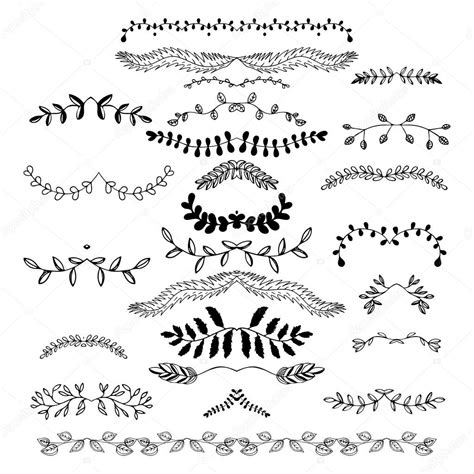 Font Decoration Hand Drawn Floral Borders Dingbats Dividers Wreaths