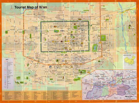 xian map map  xian china xian city tourist map