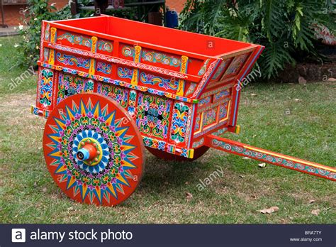 Carretas are elaborately painted oxcarts in the city of