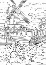 Coloring Country Pages Adult Printable Mill Adults Favoreads Sheets Farm Etsy Scene Books Club Drawing Doodle Sold sketch template