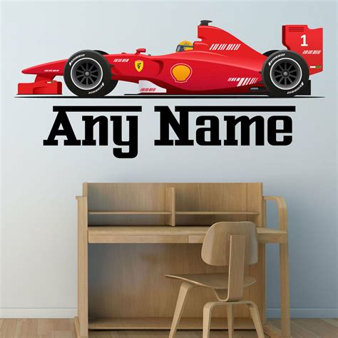 Personalised F1 Race Car Wall Sticker Boys Name Bedroom
