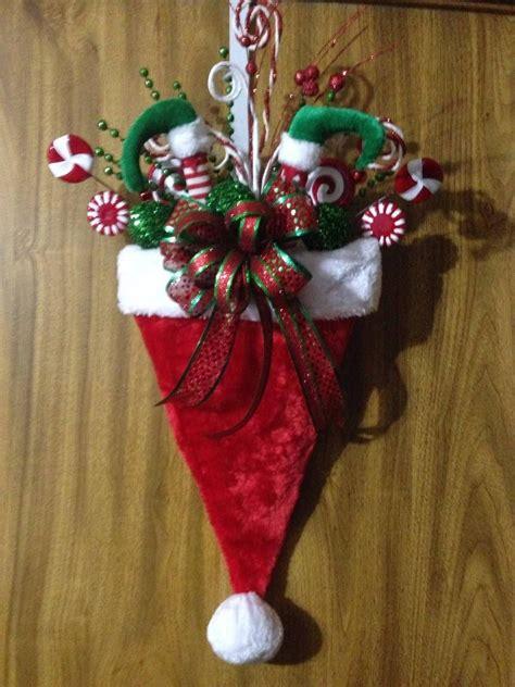 christmas santa hat door hanger  imaginedbydonna  etsy