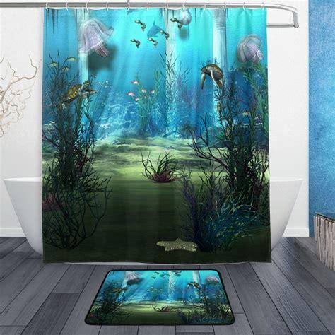 sea ocean beach shower curtain and mat set underwater