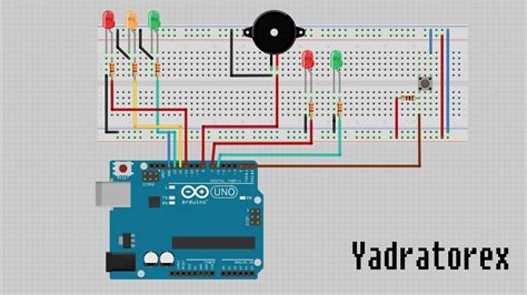 an interactive traffic lights using arduino arduino uno traffic lights with button code at 44534