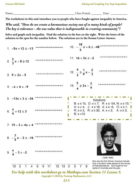 solving and graphing inequalities worksheet free