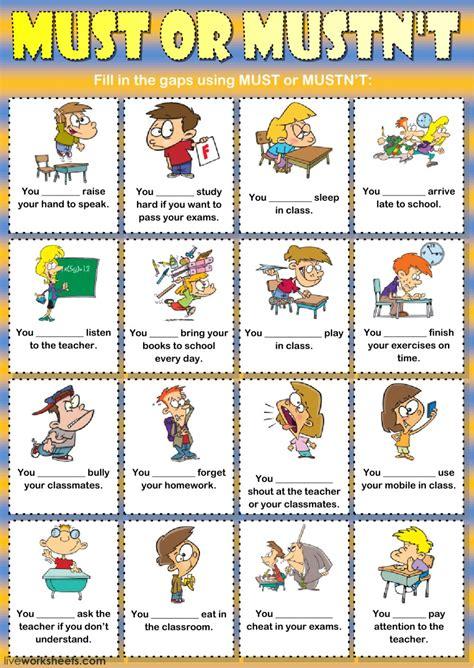 must or mustn t classroom interactive worksheet