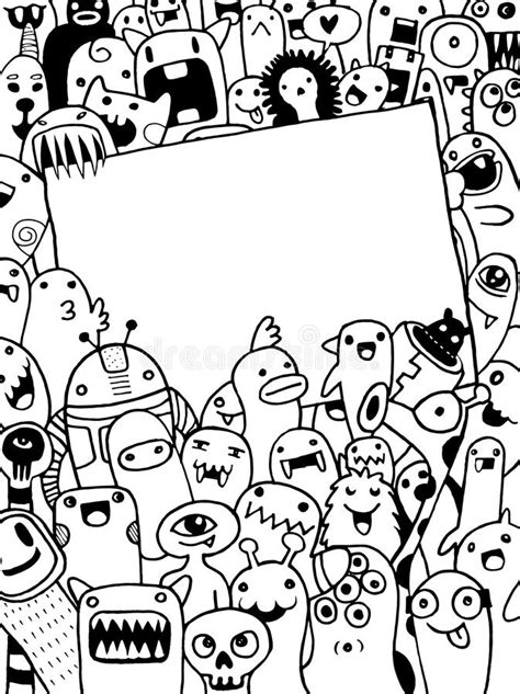 hand drawn aliens  monsters cartoon doodle stock vector