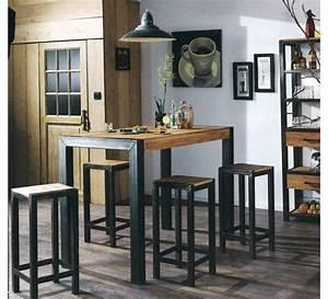 Table Haute Industrielle : mange debout snack bois et m tal manufacture muebles ~ Melissatoandfro.com Idées de Décoration