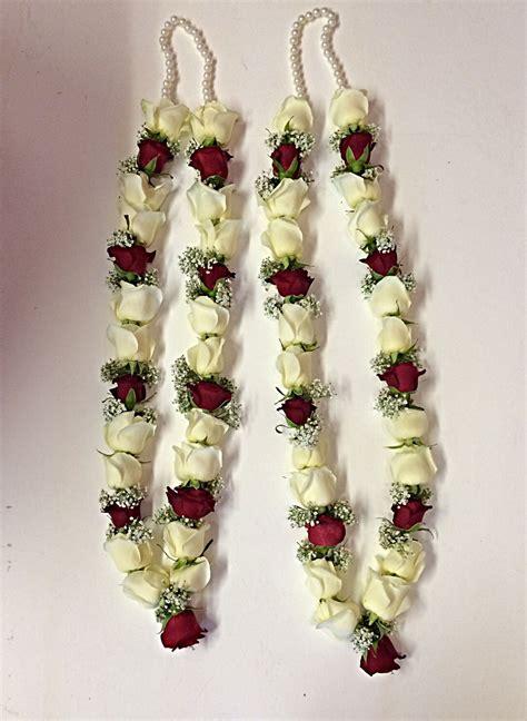 red  white rose garland wedding garlands