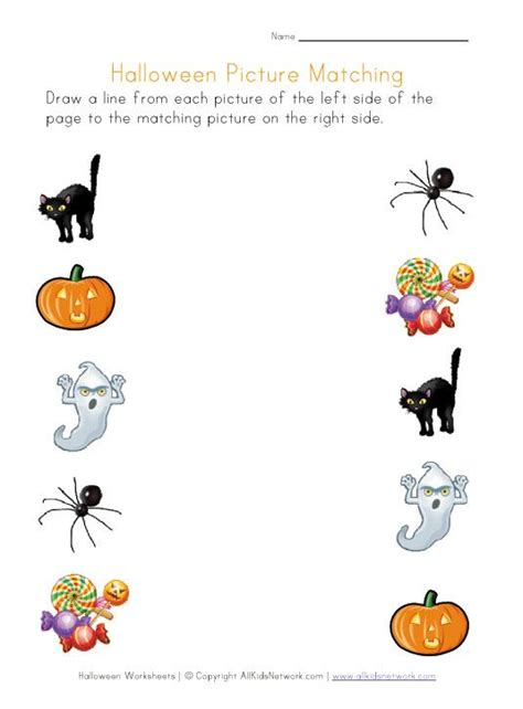 printable halloween picture matching worksheet