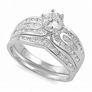 sterling silver wedding set engagement ring clear round With size 10 5 wedding rings