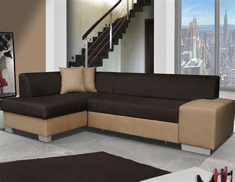 canapé d angle convertible bicolore canapé d 39 angle marron et beige pas cher