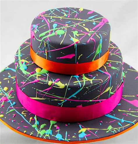 Neon Colors Decorations by Awesome Retro 80s Cakes Stuck In The 80s Cake Inspiration