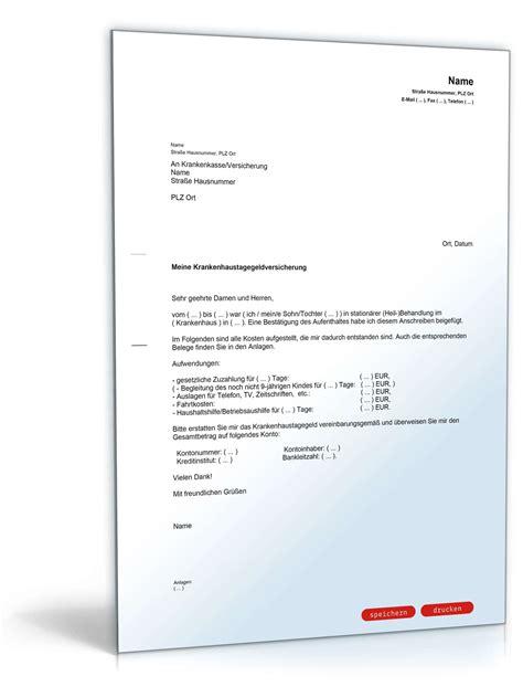 Nicht Vergessen Antraege Und Anzeigen Bei Behoerden by Antrag Erstattung Krankenhaustagegeld Muster Zum