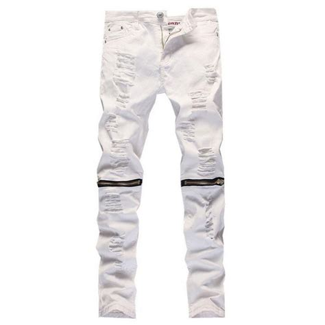 Men Active Hole Jeans Brand White Biker Fashion Zipper