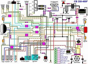 Schematic  Honda Cb 350 400f Motorcycle Electrical Circuit
