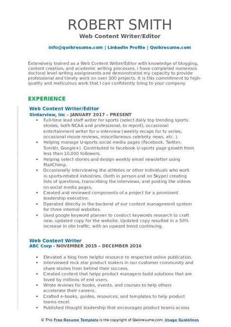 Writer Editor Resume Template by Web Content Writer Resume Sles Qwikresume