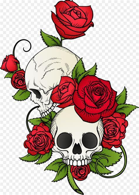 calavera skull rose  shirt drawing vector hand painted skull  flowers png