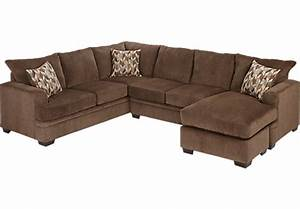 Sierra view cocoa 2pc sectional living room sets for Olympian platinum 2pc sectional sofa dimensions
