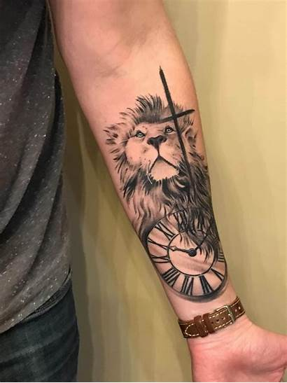 Lion Tattoo Tattoos Cross Clock Designs Forarm
