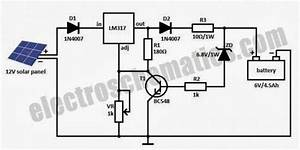 Charging Battery With Solar Panel  Schematic Diagram