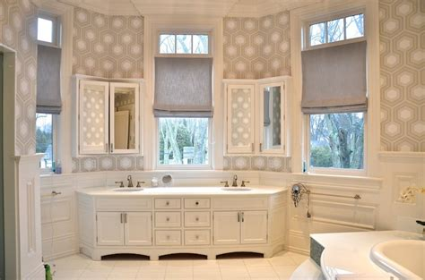 hicks hexagon wallpaper transitional bathroom