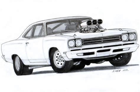 muscle car drawings  plymouth roadrunner drawing