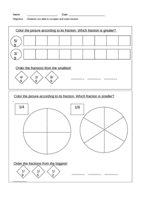 compare and order fractions worksheet lesson planet