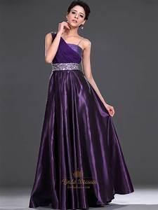 Purple One Shoulder Embellished Floor Length Prom Dress ...