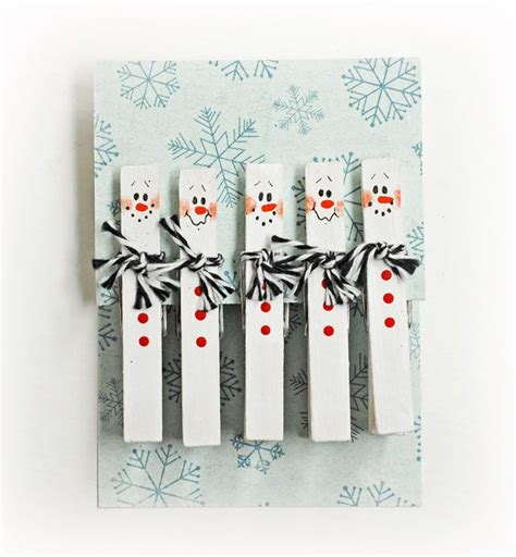 d i y snowman clothespins paint white add features use
