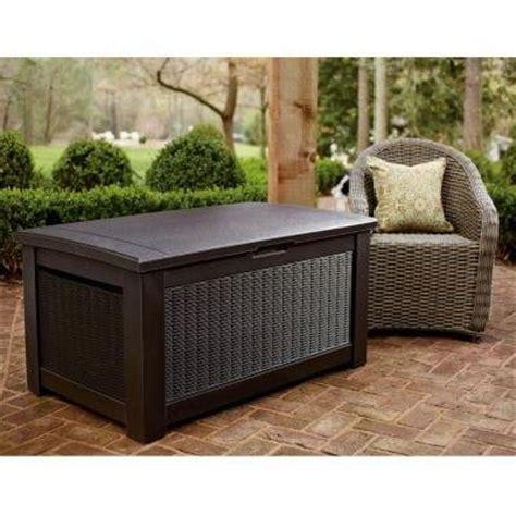 rubbermaid 93 gal bridgeport resin storage bench deck box weather resistant farm garden