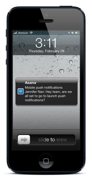 push notifications   iphone app  asana blog