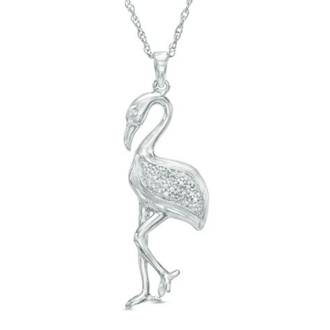 diamond accent flamingo pendant  sterling silver